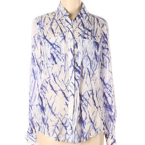 Foxcroft Easy Care 8 button up/down blouse blue wh